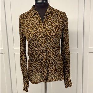 Dana Bachman Leopard Print Silk Blouse Sz 4